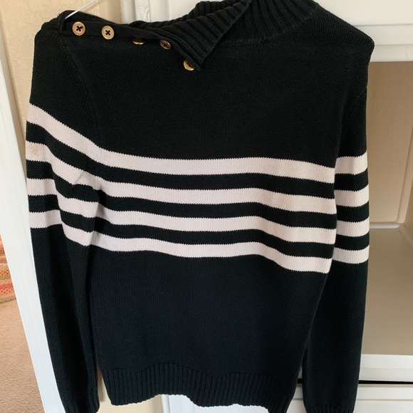 Chaps Sweaters - Chaps black and white long sleeved sweater
